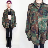 Authentic Army Jacket Camo Jacket Grunge 90s Jacket Woodland US Military Jacket NATO size 9000/9404 Mens Medium Womens Large