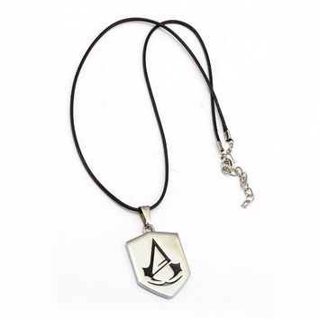 HSIC Assassins Creed Necklace Silver Alloy Assassin's Creed Pendant Necklace Leather Chain For Women Men Jewelry Game Accessorie