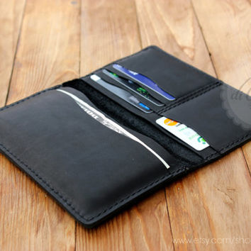 Mens leather wallet iPhone 6 clutch wallet billfold wallet black genuine leather wallet credit card wallet card holder wallet travel wallet