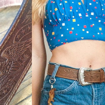 Brown Leather Belt 80s Vintage Biker Babe - Size Small Medium | Bald Eagle Patriotic Southwestern Tooled Leather Belt w/ Etched Brass Buckle