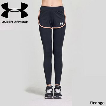 """Under Armour"" Fashionable Women Casual Sport Stretch Pants Fake Two Piece Yoga Running Trousers Sweatpants Orange"