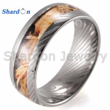 ac spbest SHARDON Titanium ring with yellow camo inlay Wedding band with laser lines inner Engagement Ring for Men with free shipping.