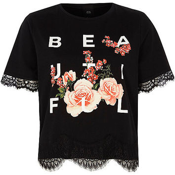 Petite black 'beautiful' lace trim T-shirt - print t-shirts / tanks - t shirts / tanks - tops - women