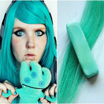 Teal Hair Chalk // Turquoise chalk, green hair chalk, Dip Tie Dye Effect // Boho Hipster Emo Scene Pastel for Human Hair / St. Patrick's Day