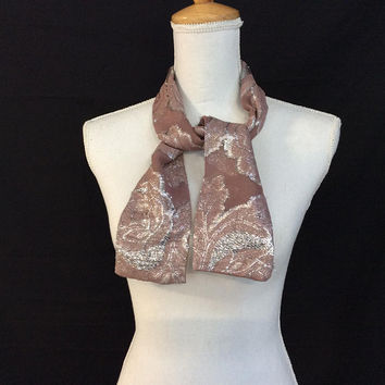Rose Pink Scarf, Sparkly Bow Scarf, Birthday Gift for Sister, Sparkly Neck Tie Scarf, Short Neck Bow scarf, Gold Hair Bandana for her
