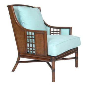 Alexandria Rattan Lounge Chair, Blue, Accent & Occasional Chairs