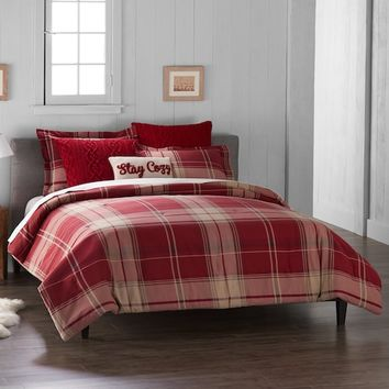 Cuddl Duds 6-Piece Red Plaid Flannel Comforter Set