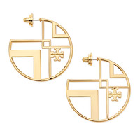 Chevron Cutout Hoop Earrings with Logo - Tory Burch - Aged gold