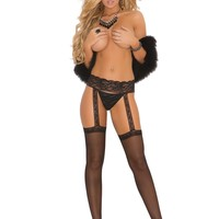 SHEER GARTER BELT HOSE WH
