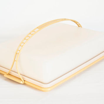 Vintage Tupperware Sheet Cake Carrier, Fresh n Fancy Rectangular Cake Holder, Harvest Gold Tupper Ware, 13x9 Container