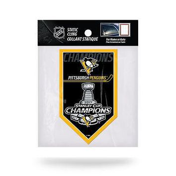 """Licensed Pittsburgh Penguins NHL 5"""" x 3"""" 2017 Stanley Cup Champs Decal 5x3 Static Cling KO_19_1"""
