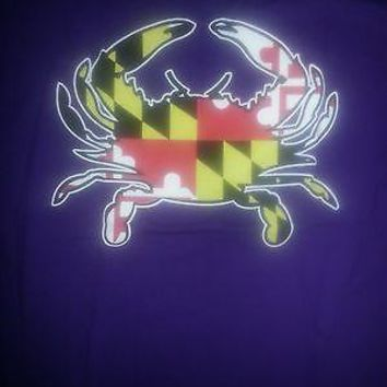 New BALTIMORE RAVENS PURPLE  MARYLAND CRAB MARYLAND  FLAG  T  SHIRT --Naty Boh