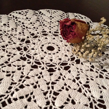 ON SALE - OOAK Floral Leaf Handmade Crochet Doily in White