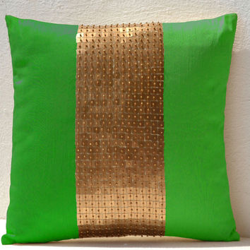 Throw Pillow covers - Neon green gold color block in silk sequin bead detail cushion - sequin bead pillow - 18X18 Neon green pillow - gift