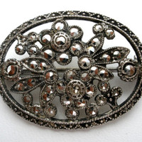 Sterling Silver Flower Brooch with Marcasites .925 Vintage Pin Floral Jewelry
