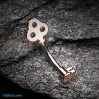 Rose Gold Dainty Princess Key Belly Button Ring