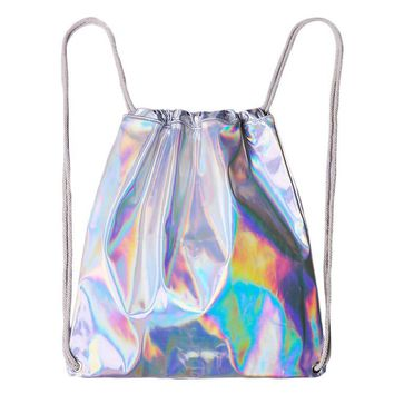 Women Hologram Backpack Silver Drawstring School Bag For Teenagers Student Women's Laser Holographic Bag Sack package Travel B