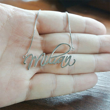 Customized Name Necklace, Personalized Necklace, Script Style Nameplate Necklace,Birthday Gift, Silver Name Necklace