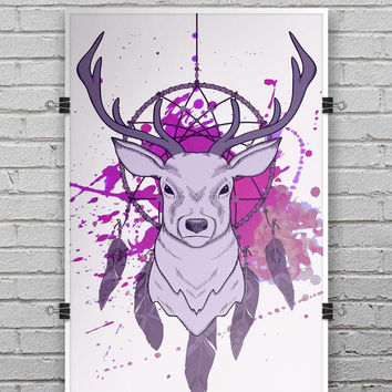 Purple Deer Runner DreamCatcher - Ultra Rich Poster Print