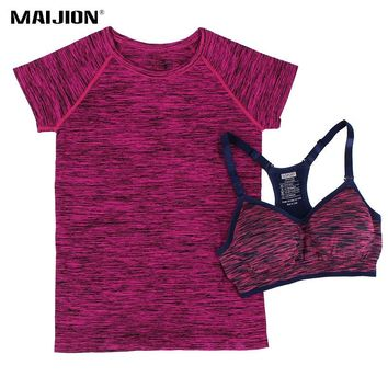 MAIJION Women Absorb Sweat Running Sets Quick Dry Yoga T Shirt Tops&Bra Set Gym Fitness Running Yoga Sets Suit Workout Sport Set