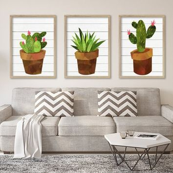 CACTUS SUCCULENT Watercolor Wall Art, Watercolor Flower CANVAS or Prints, Succulent Flower Artwork, Botanical Flower Wall Decor, Set of 3