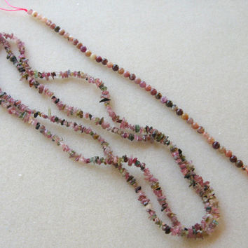 Tourmaline Chip and Round Beads Necklaces Jewelry Multi Colors Pink Green Yellow Watermelon Tourmaline