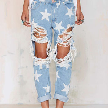 star pattern loose ripped big hole jeans tassels trousers pants plus size for  woman feminina
