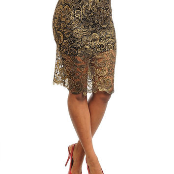 Lace Overlay Mid-Length Pencil Skirt in Gold & Black