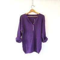 Oversized purple henley sweater Button down vintage textured knit Vneck jumper Womens slouchy long pullover size M
