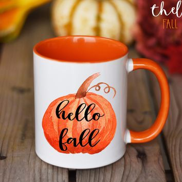 Fall Mug, Hello Fall Coffee Mug, Pumpkin Spice Mug, Pumpkin Mug
