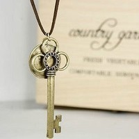 Vintage Key&Coin Pendant String Necklace
