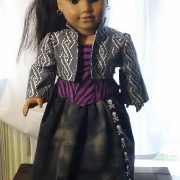 OOAK Steampunk/ Monster High Inspired! Lavender, purple and grey 3 piece outfit for 18 inch dolls! ~Steampunk~Monsters High~ Rocker chic~
