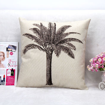 Vintage Printed Pillow Case Abstract Coconut Tree Cushion Cotton Linen Cover Square 45X45CM