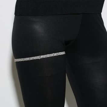 3 Rows Clear Rhinestone Simple Sexy Crystal Thigh Chain Silver Color Leg Accessories Body Garter Jewelry