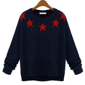 Star Print Long Sleeve Knitted Sweater