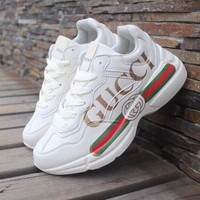 GUCCI Classic Fashionable Women Men Casual Sport Running Shoes Sneakers Beige
