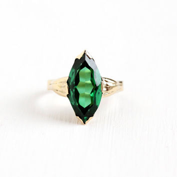 Vintage 14k Yellow Gold Created Green Spinel Ring - 1930s Art Deco Size 4 1/4 Simulated Emerald Large Marquise Cut Navette Fine Jewelry
