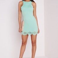 Missguided - Laser Cut Scalloped Bodycon Mini Dress Mint