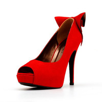 Red Peep Toe Pumps with Back Bow. Red Shoes. Red Suede Heels. Red High Heels. Red Shoes