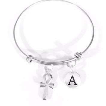 Adjustable Bangle Charm Bracelet Ankh Hook Cross Religious Egypt Initial Gift