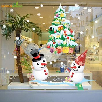 Shop Window Snowman Christmas Tree Christmas Wall Sticker Christmas Decorations For Home Christmas Window Sticker