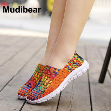 Mudibear 2017 spring Women Flats casual loafers shoes female Sweet Candy Colors walking shoes woven for ladies shoes Size 35-40