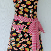 Cute Apron, Hamburger Apron, Hot Dogs, French Fries, Fast Food, Red Plaid, Womens Full Apron, Retro Style Apron, KitschNStyle