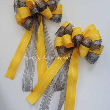 Yellow and Gray Wedding Pew Bow Grey Yellow Wedding Aisle Decoration Bow Yellow Silver Gray Bridal Shower Graduation Party Decoration