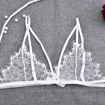 Fashion Sexy Bra Flower Gauze Lace embroidery Bra Ultra-thin Transparent Underwear Bralette Sheer Mesh Wireless Cups Bra