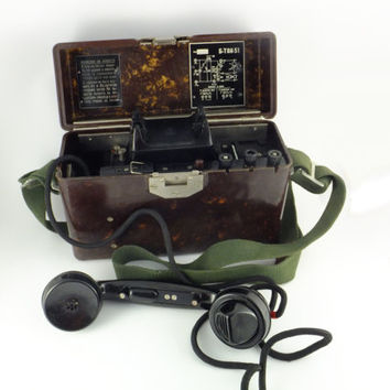 Rare B - TAI - 51 Russian Soviet Military Field Telephone 1960's - Made in USSR, vintage phones steampunk