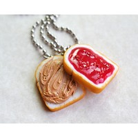 Strawberry Peanut Butter Sandwich and Jelly BFF Best friend Friendship Necklaces Set, Polymer Clay