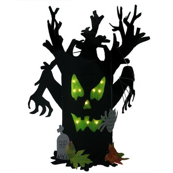 """25"""" LED Lighted Spooky Black Ghost Monster Twig Tree Halloween Decoration"""