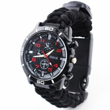 Survival Watch Outdoor Camping Medical Multifunctional Compass Thermometer Rescue Rope Paracord Bracelet Equipment Tools kit