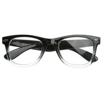 Two Tone Retro Color Fade Clear Lens Horned Rim Glasses 8536